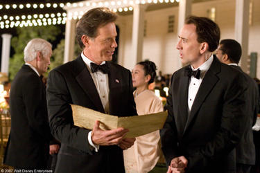 "Bruce Greenwood and Nicolas Cage in ""National Treasure: Book of Secrets."""