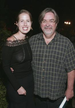 "Kristin Gore and Matt Groening at the gathering to celebrate the publication of Gores new book ""Sammys Hill: A Novel."""