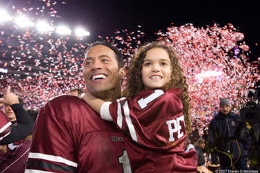 "The Rock and Madison Pettis in ""The Game Plan."""