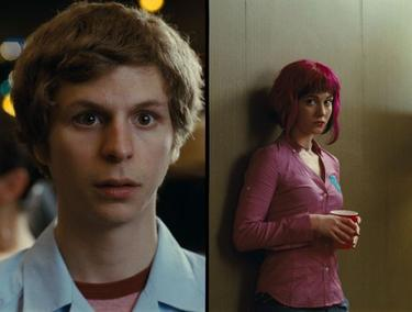 "Michael Cera as Scott Pilgrim and Mary Elizabeth Winstead as Ramona Flowers in ""Scott Pilgrim vs. the World."""