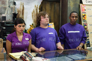 "Melonie Diaz, Jack Black and Mos Def in ""Be Kind Rewind."""