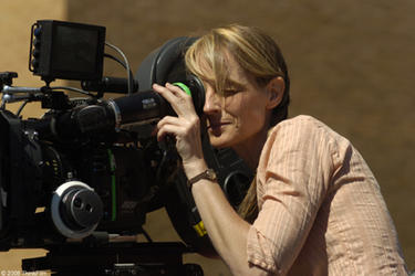 "Helen Hunt on the set of ""Then She Found Me."""