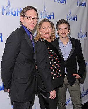 "Stephen Kunken, Kathleen Turner and Evan Jonigkeit at the after party of the Broadway Opening Night of ""High"" in New York."