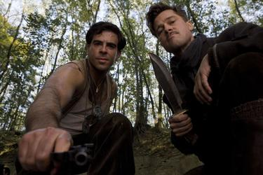 "Eli Roth as Sgt. Donny Donowitz and Brad Pitt as Lt. Aldo Raine in ""Inglourious Basterds."""