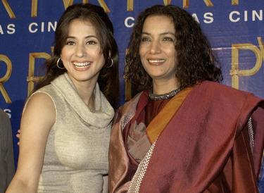 "Urmila Matondkar and Shabana Azmi at the press conference of ""Tehzeeb"" (Etiquette)."