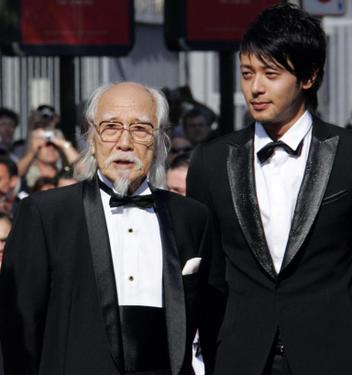 "Seijun Suzuki and Jo Odagiri at the screening of ""Three Burials of Melquiades Estrada"" during the 58th International Cannes Film Festival."