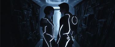 "Olivia Wilde and Garret Hedlund in ""Tron: Legacy."""