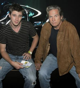 Garrett Hedlund and Jeff Bridges at the Tron Legacy Flynn's Arcade.