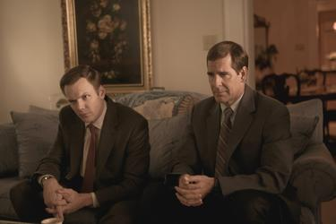 "Joel McHale as FBI Special Agent Bob Herndon and Scott Bakula as FBI Special Agent Brian Shepard in ""The Informant!"""