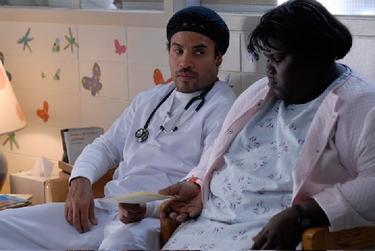 "Lenny Kravitz as Nurse John and Gabourey Sidibe as Claireece ""Precious"" Jones in ""Precious: Based on the Novel PUSH by Sapphire."""
