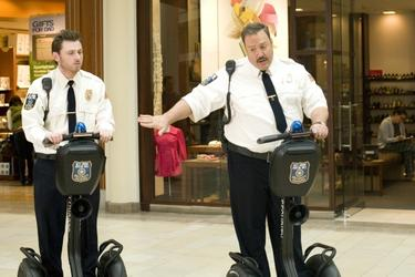 "Keir O'Donnell as Veck Sims and Kevin James as Paul Blart in ""Paul Blart: Mall Cop."""