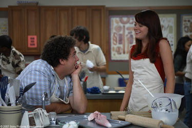 "Seth (Jonah Hill) flirts with Jules (Emma Stone) in home ec class in ""Superbad."""