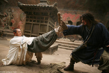 "Silent Monk (Jet Li) and Lu Yan (Jackie Chan) in ""The Forbidden Kingdom."""