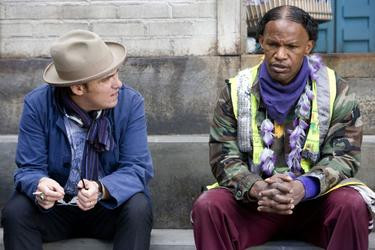 "Director Joe Wright and Jamie Foxx on the set of ""The Soloist."""