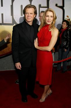 "William H. Macy and his wife Felicity Huffman at the red carpet for the premiere of ""Wild Hogs""."