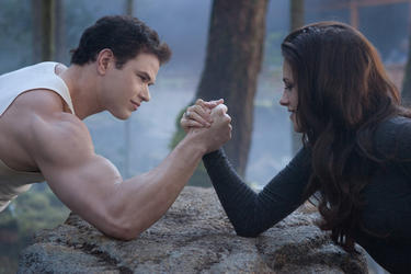 "Kellan Lutz and Kristen Stewart in ""The Twilight Saga: Breaking Dawn - Part 2."""