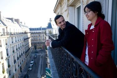 "Jake Johnson and Charlyne Yi in ""Paper Heart."""