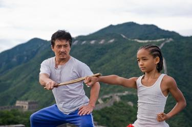 "Jackie Chan as Mr. Han and Jaden Smith as Dre Parker in ""The Karate Kid (2010)."""