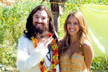 "Mike Myers and Jessica Alba in ""The Love Guru."""