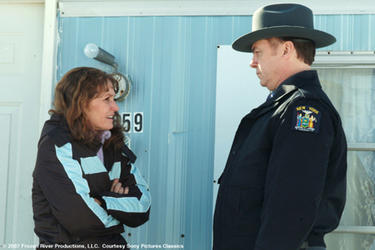 "Melissa Leo as Ray Eddy and Michael O'Keefe as Trooper Finnerty in ""Frozen River."""