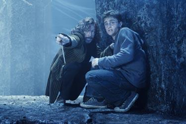 "Gary Oldman as Sirius Black and Daniel Radcliffe in ""Harry Potter and the Order of the Phoenix."""