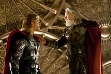 "Thor (Chris Hemsworth) and Odin (Anthony Hopkins) in ""Thor."""