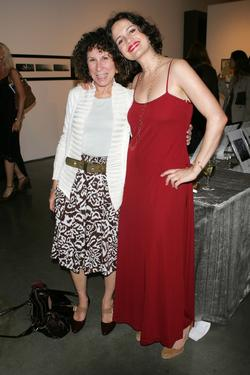 Rhea Perlman and Carla Gugino at the Lucy Liu's art exhibit and auction.