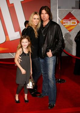 "Noah Cyrus, Tish Cyrus and Billy Ray Cyrus at the premiere of ""Bolt."""