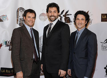 "Director J. Clay Tweel, Micah Sloat and producer Steven Klein at the California premiere of ""Make Believe."""