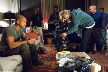 "Will Smith and director Francis Lawrence on the set of ""I Am Legend."""