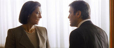 "Tilda Swinton and George Clooney in ""Michael Clayton."""