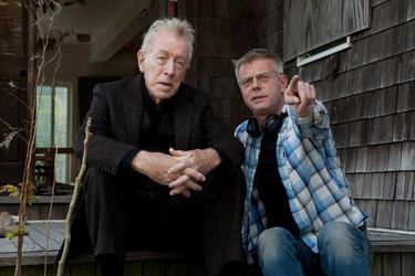 "Max Von Sydow and director Stephen Daldry on the set of ""Extremely Loud & incredibly Close."""