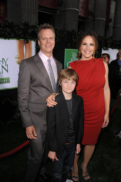 "Director Peter Hedges, CJ Adams and Jennifer Garner at the California premiere of ""The Odd Life Of Timothy Green."""