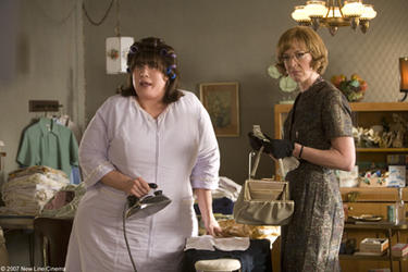 "John Travolta and Allison Janney as Prudy Pingleton in ""Hairspray."""