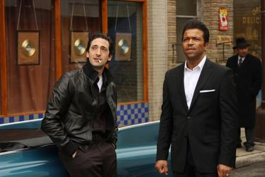 "Adrien Brody as Leonard Chess and Jeffrey Wright as Muddy Waters in ""Cadillac Records."""