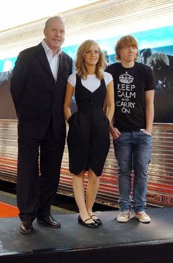 "David Yates, Emma Watson and Rupert Grint at the photocall of ""Harry Potter and the order of the Phoenix."""