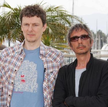 "Michel Gondry and Leos Carax at the photocall of ""Tokyo"" during the Cannes International Film Festival."