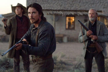 "Tucker (Kevin Durand), Dan Evans (Christian Bale) and Byron McElroy (Peter Fonda) in ""3:10 to Yuma."""