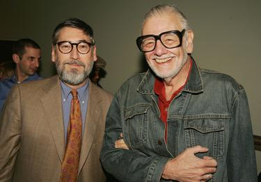 "John Landis and George Romero at the party to celebrate ""Masters of Horror."""