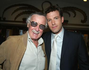 "Stan Lee and Ben Affleck at the premiere of ""Daredevil."""