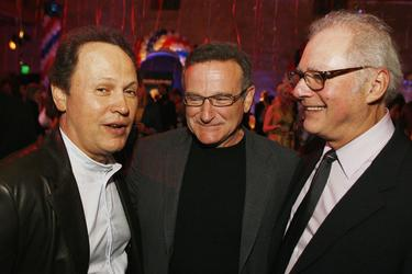 "Barry Levinson, Billy Crystal and Robin Williams at the Hollywood Roosevelt Hotel for the afterparty at the premiere of Universals ""Man of the Year""."