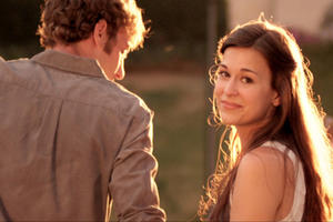 Jason Burkey as Jason and Rachel Hendrix as Hannah in ``October Baby.''