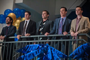 "Thomas Ian Nicholas as Kevin Myers, Jason Biggs as Jim, Seann William Scott as Steve Stifler, Chris Klein as Oz and Eddie Kaye Thomas as Finch in ""American Reunion.''"