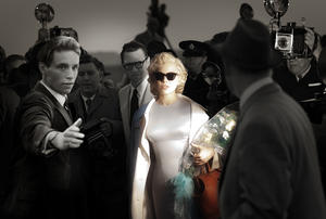 "Eddie Redmayne as Colin Clark, Dougray Scott as Arthur Miller and Michelle Williams as Marilyn Monroe in ""My Week With Marilyn."""
