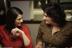"Hiam Abbass as Raghda and Nisreen Faour as Muna in ""Amreeka."""
