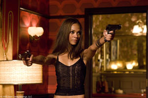 "Zoe Saldana as Aisha in ""The Losers."""
