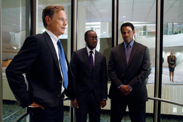"Bruce Greenwood as Charlie Anderson, Don Cheadle as Hugh Lang and Denzel Washington as Whip Whitaker in ""Flight."""