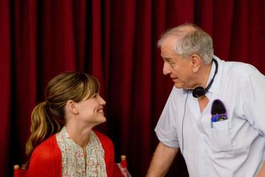 "Jennifer Garner and Director Garry Marshall on the set of ""Valentine's Day."""