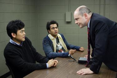 "John Cho as Harold, Kal Penn as Kumar and Rob Corddry as Dr. Beecher in ""Harold and Kumar Escape from Guantanamo Bay."""