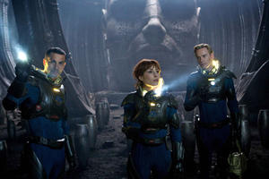 "Logan Marshall-Green as Holloway, Noomi Rapace as Elizabeth Shaw and Michael Fassbender as David in ""Prometheus.''"